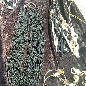 Navajo onyx beaded necklace set